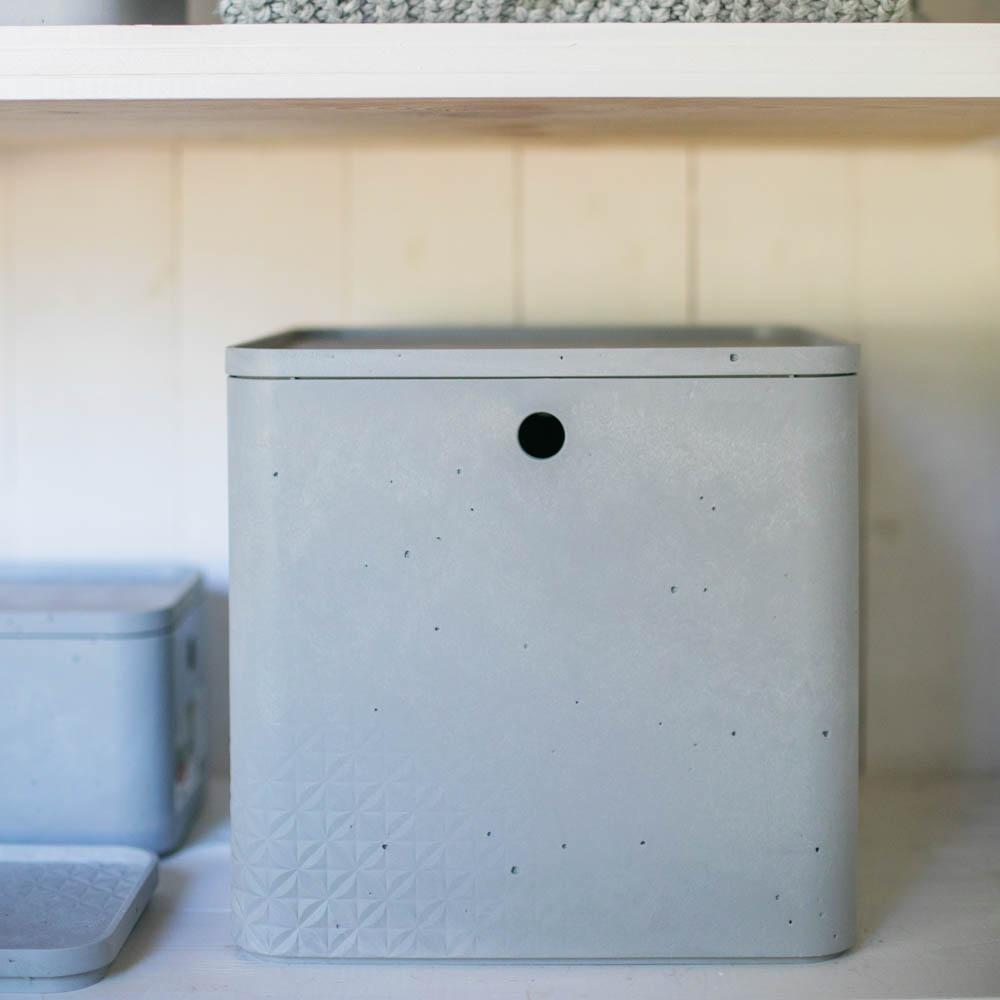 Boite Rangement Hermétique Cave détails sur boîte de rangement carrée avec couvercle 18 l beton gris clair  curver